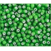 Glass Bead White Hearts 6/0 Green